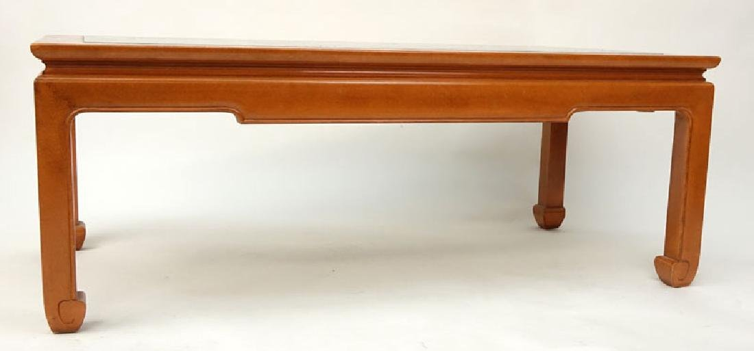 Mid Century Chinese Wooden Glass Top Coffee Table - 2