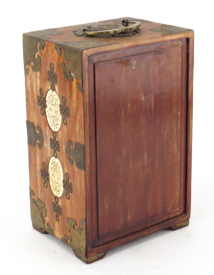 Antique Chinese Wood Brass Mounted Jewelry Chest with - 3