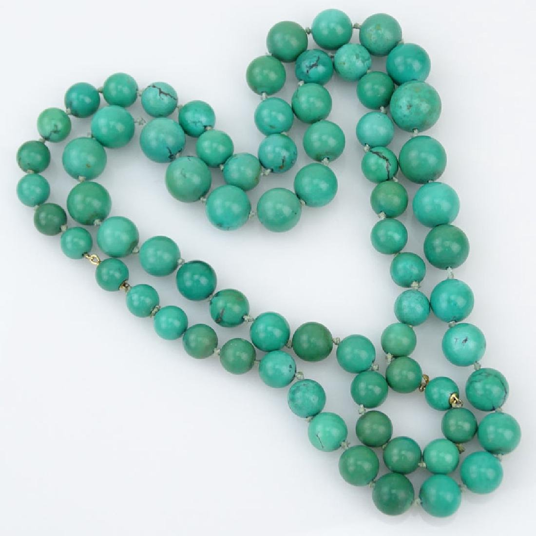 Two (2) Vintage Graduated Turquoise Bead Necklace with