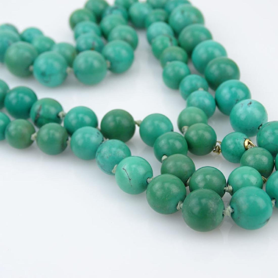 Two (2) Vintage Graduated Turquoise Bead Necklace with - 2
