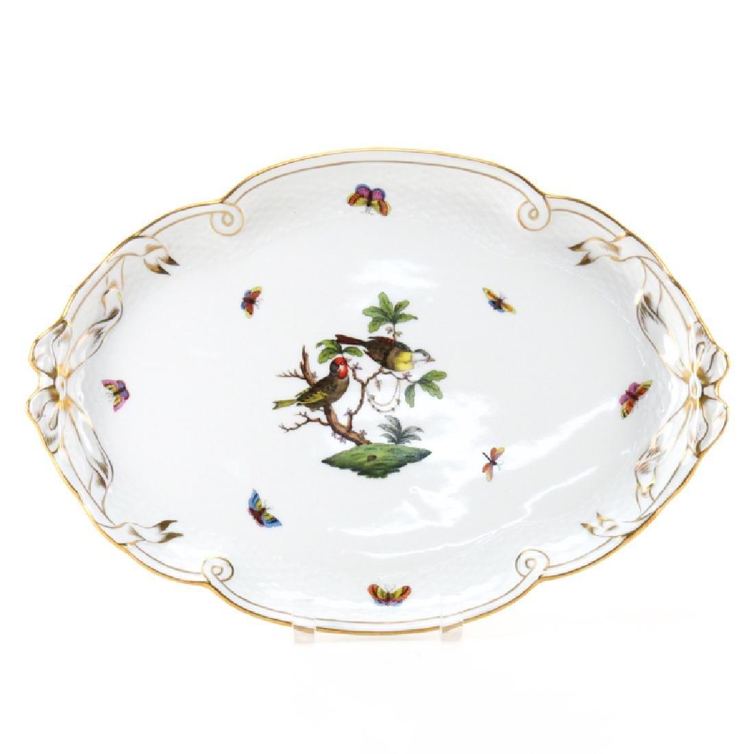"Herend Porcelain ""Rothschild Birds"" Oval Ribbon Tray."