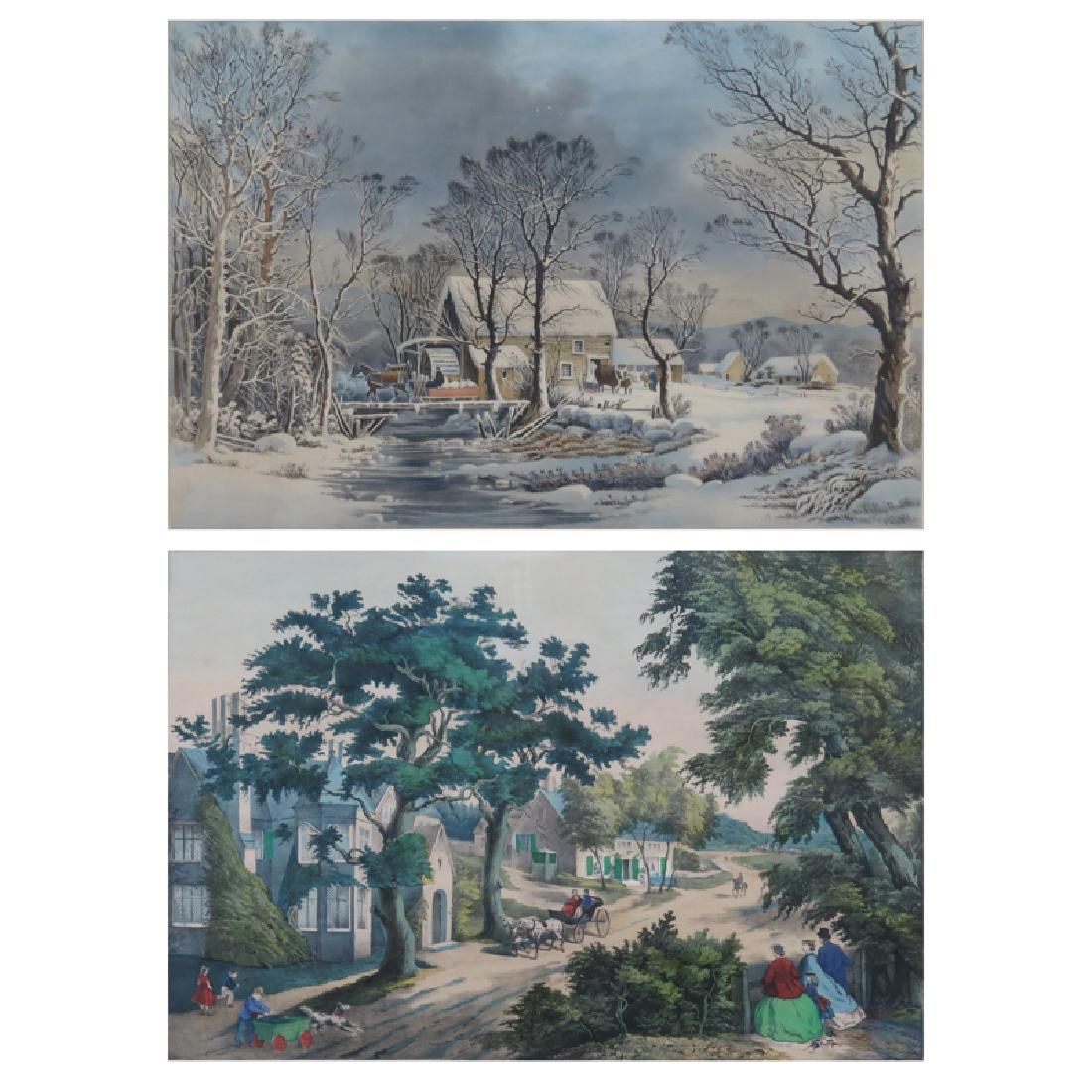 Two 19th C Hand-colored Lithographs. A Currier & Ives
