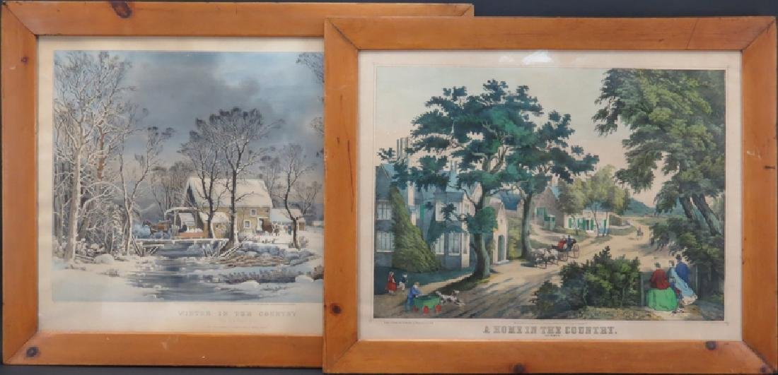 Two 19th C Hand-colored Lithographs. A Currier & Ives - 2