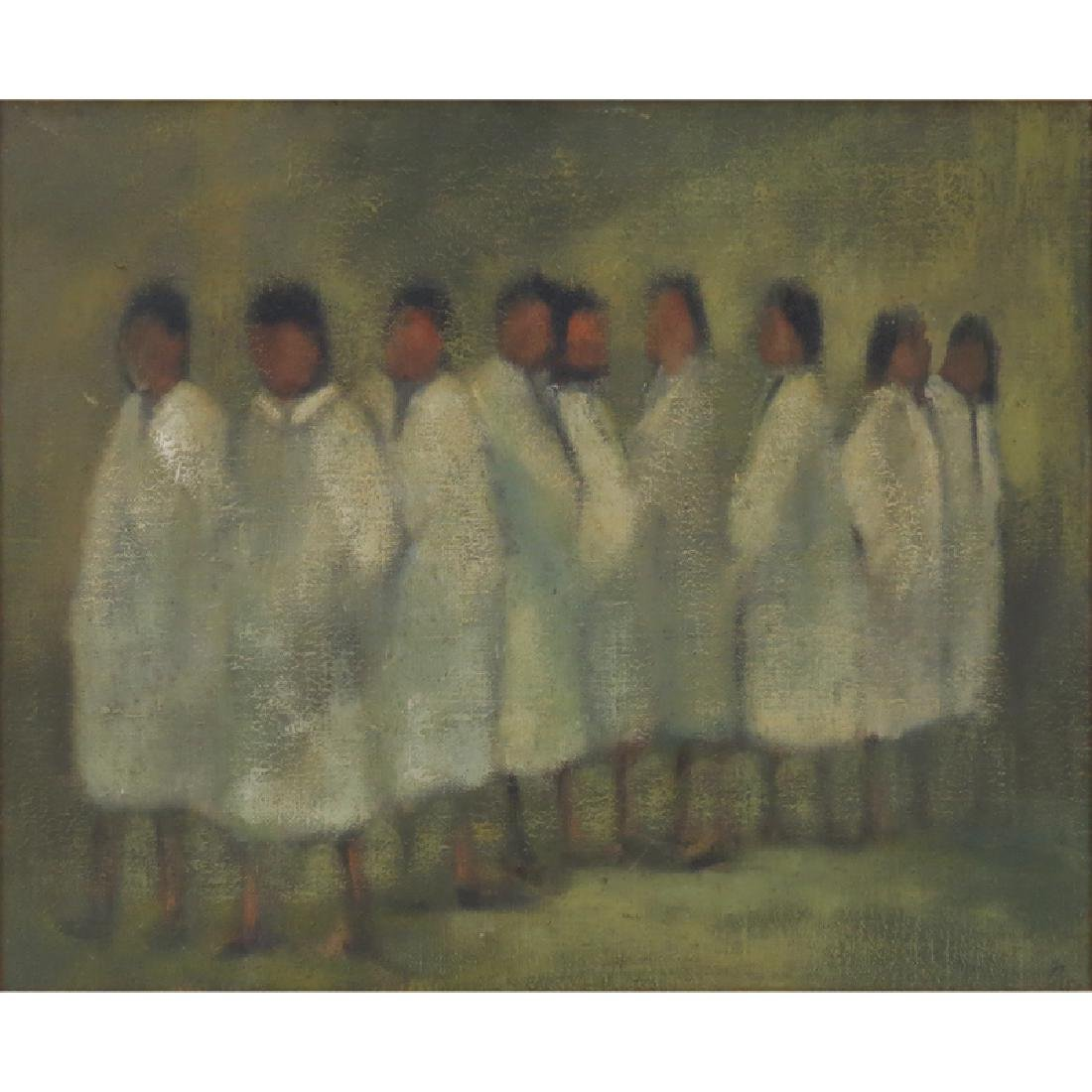 "Mid 20th Century Oil On Canvas ""Figures In White""."