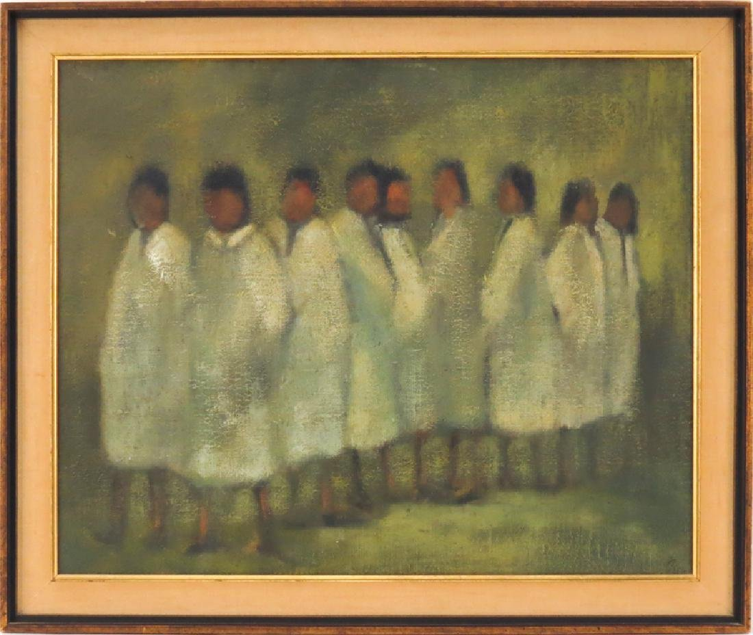 "Mid 20th Century Oil On Canvas ""Figures In White"". - 2"