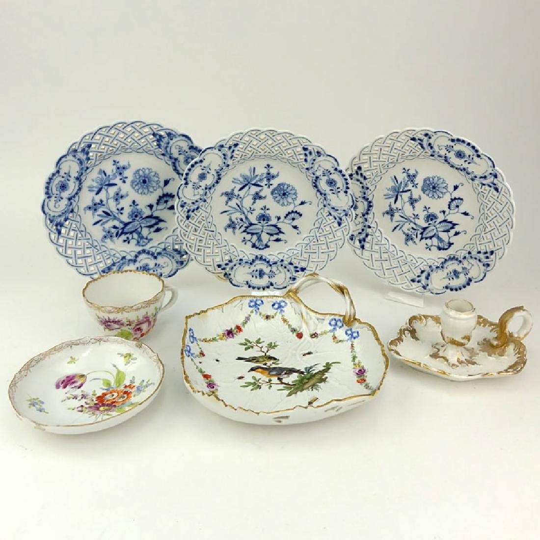 Grouping of Seven (7) Antique Meissen Porcelain