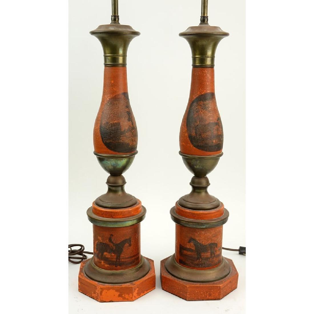 Pair of Vintage Tole Lamps. Horses motif. Unsigned.