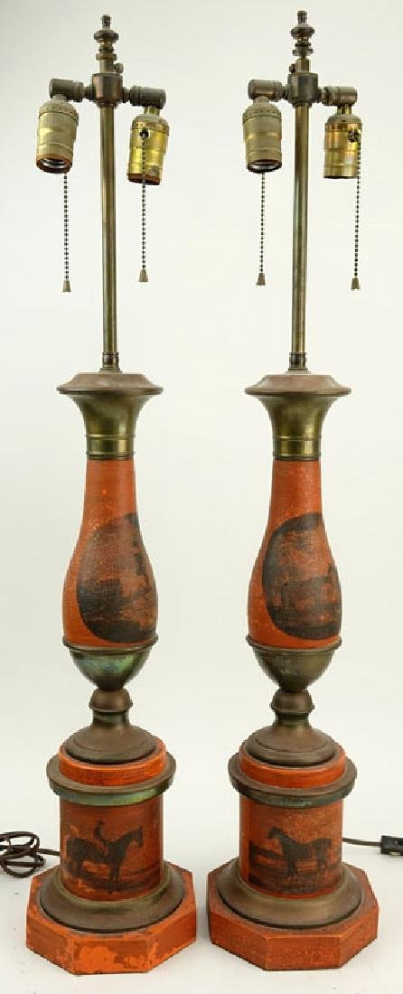 Pair of Vintage Tole Lamps. Horses motif. Unsigned. - 2