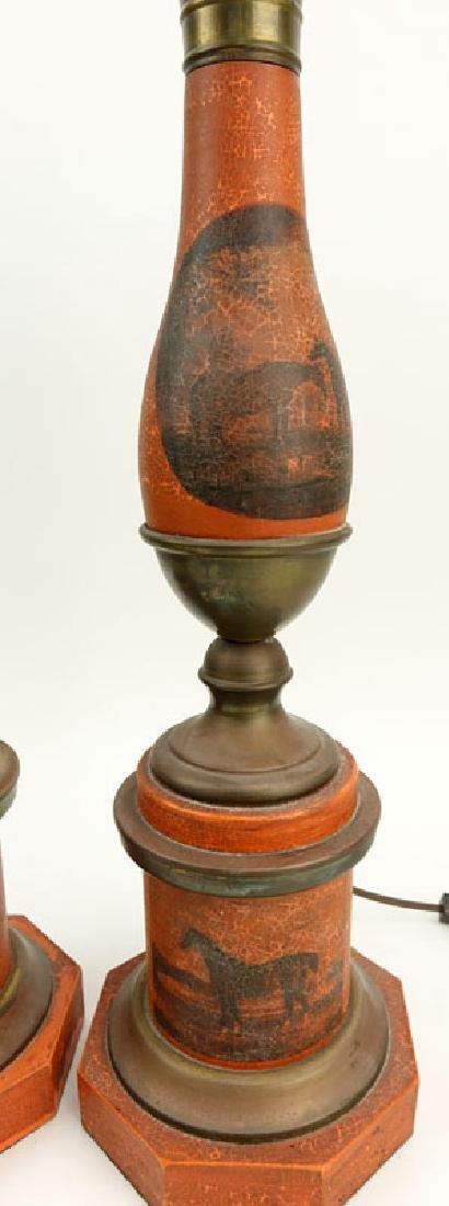 Pair of Vintage Tole Lamps. Horses motif. Unsigned. - 4