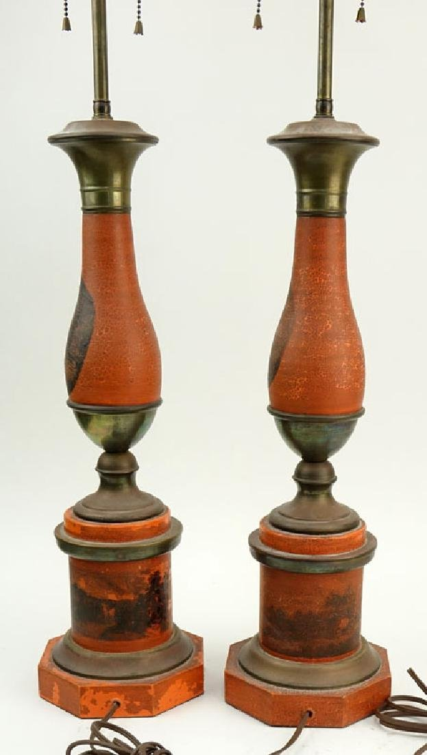 Pair of Vintage Tole Lamps. Horses motif. Unsigned. - 6