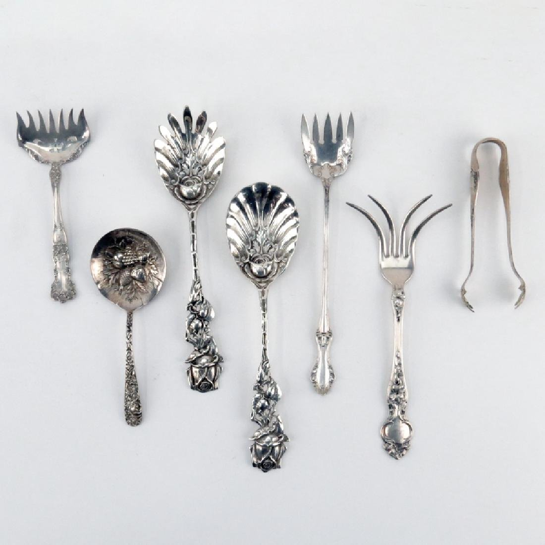 Grouping of Seven (7) Sterling Silver Serving Pieces.