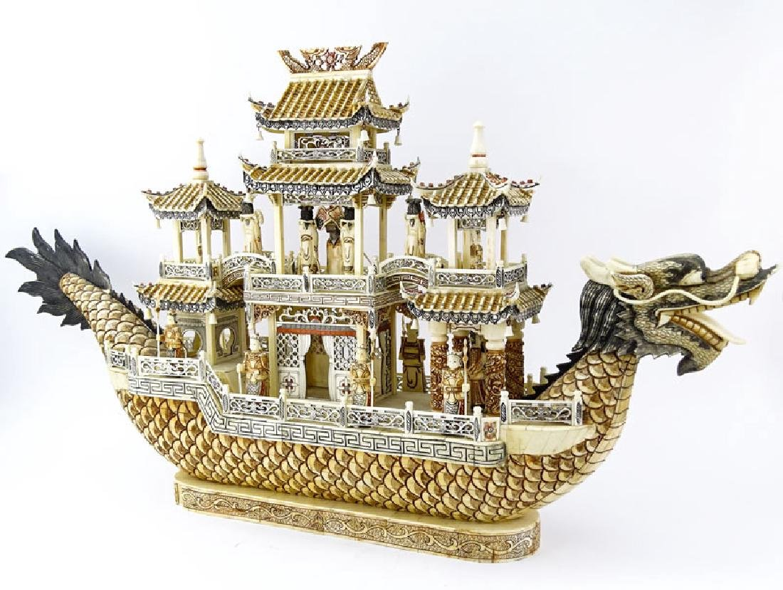 Vintage Chinese Carved Bone Dragon Ship with Immortals.