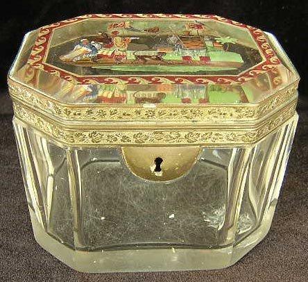 1: 19C French Crystal Vanity Box w/ Bronze Mounts Hand