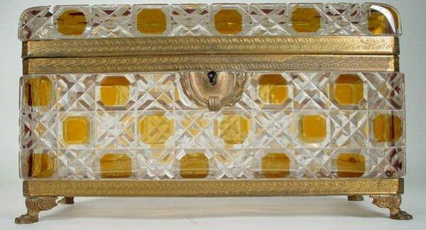 4: Bavarian Glass Bronze Mounted Vanity Box. Amber Cut