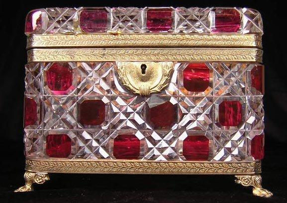 5: Bavarian Ruby Crystal Bronze Mounted Footed Vanity B