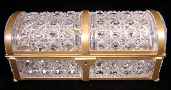 6: Double Handled Cut Crystal Footed Glove Box with Bro