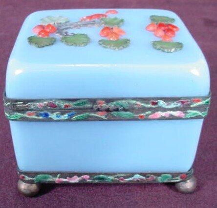 9: 19/20C Opaline/Peking Glass Enameled Hinged Box
