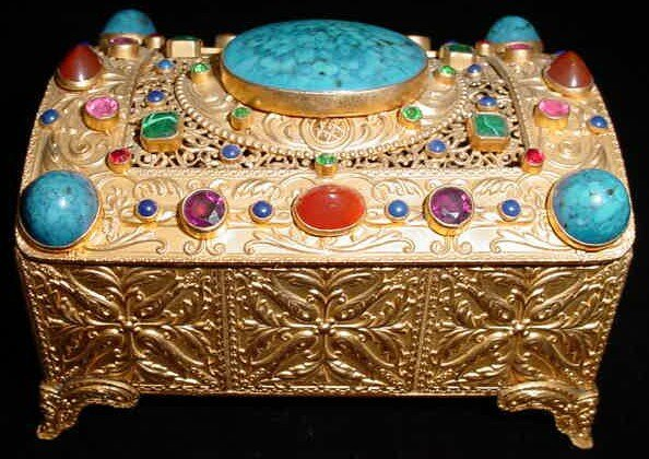13: Vienna Gilt Bronze Lidded Box Profusely Decorated w