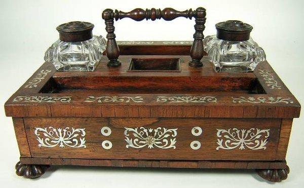 21: Art Nouveau Wood MOP Inlaid Desk Set with Handle an