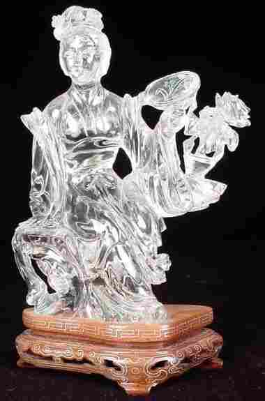 20th Century Chinese Carved Rock Crystal Figural G