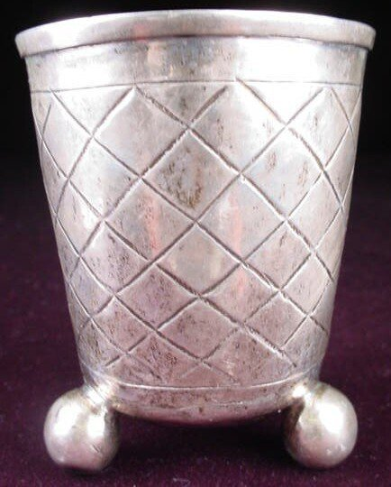 504: 18th/19th Century Sterling Silver Cup on Tripod Ba