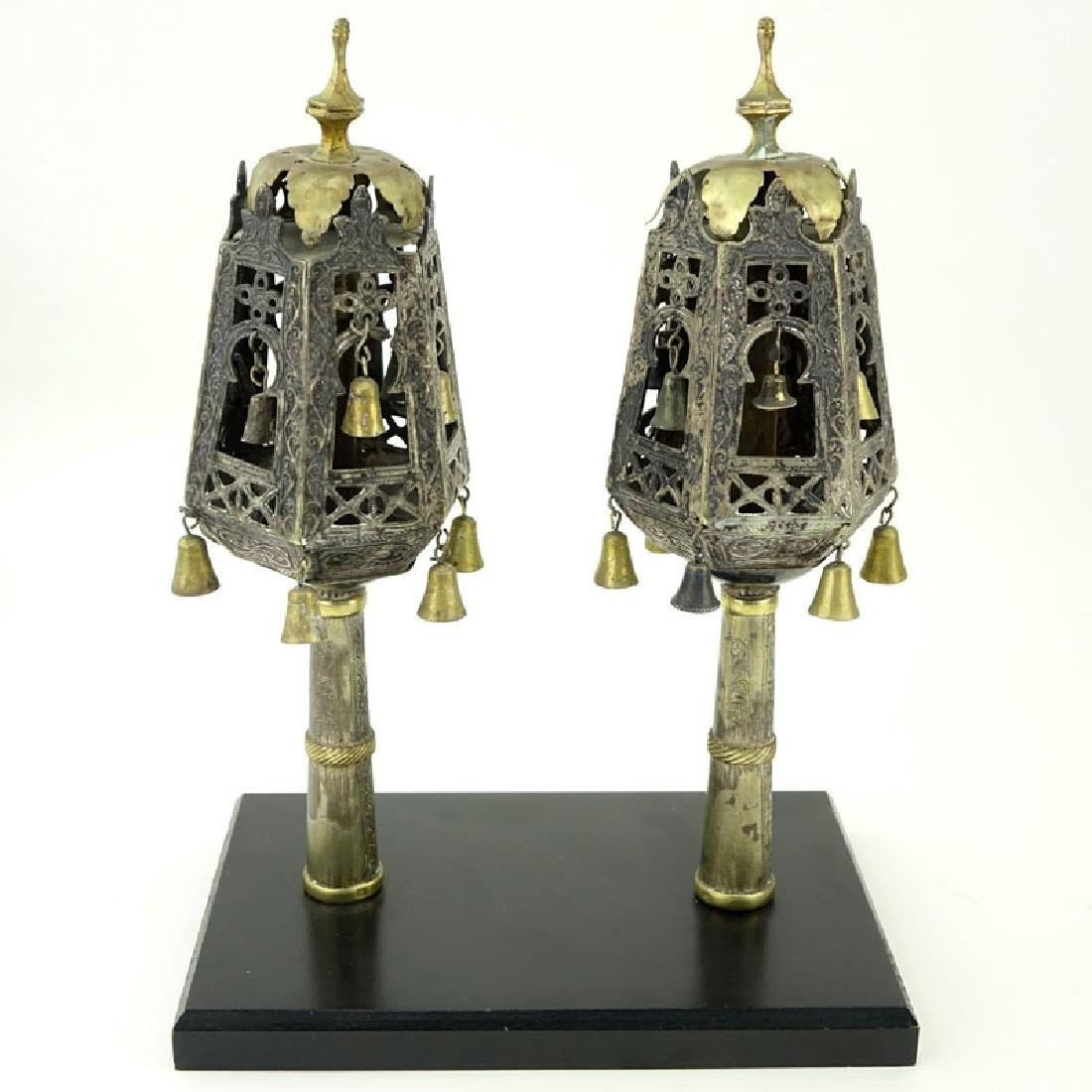 Pair of Late 18th or 19th Century Judaica Silver and