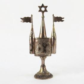 20th Century Judaica Silver Tower Form Spice Box.