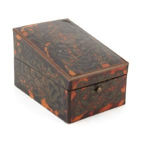 19th Century Boulle Work Stamp Box with Ebony Lined