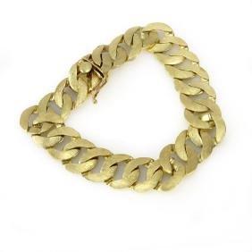 Man's Vintage 14 Karat Yellow Gold Wide Link Bracelet.