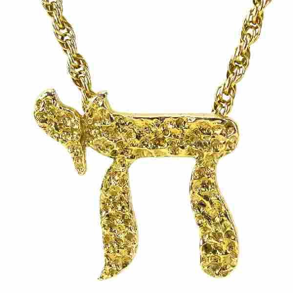 Vintage 14 Karat Yellow Gold 'Chai' Pendant Necklace.