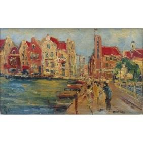 20th Century French School Impressionist Style Oil On