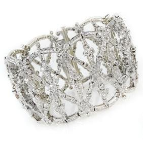 Contemporary Diamond and 18 Karat White Gold Bracelet.
