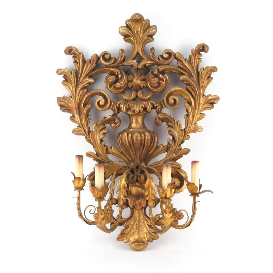 Baroque style Carved Gilt Wood and Gilt Tole Four Light