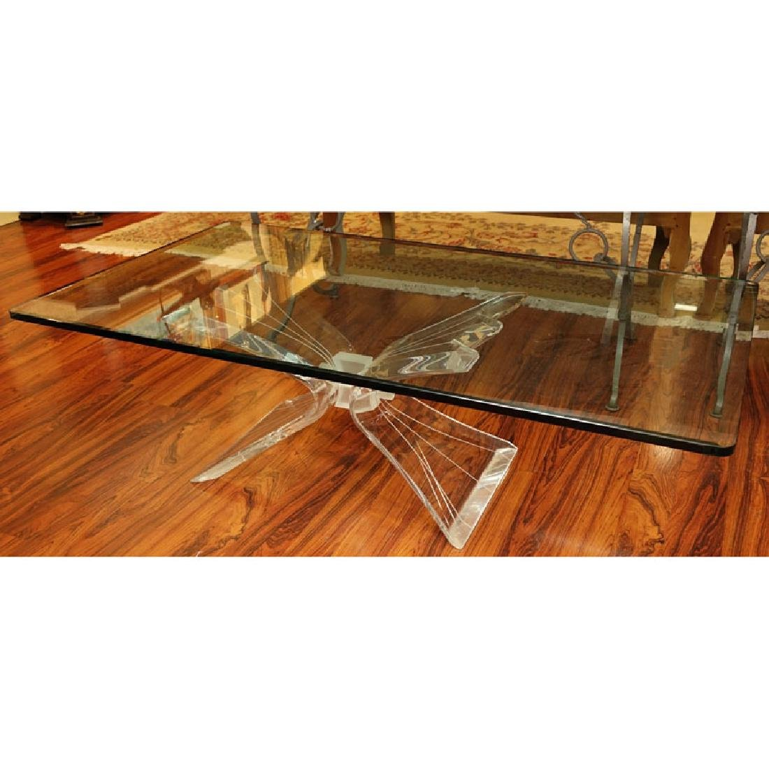 Lion In Frost Style Lucite And Glass Coffee Table.