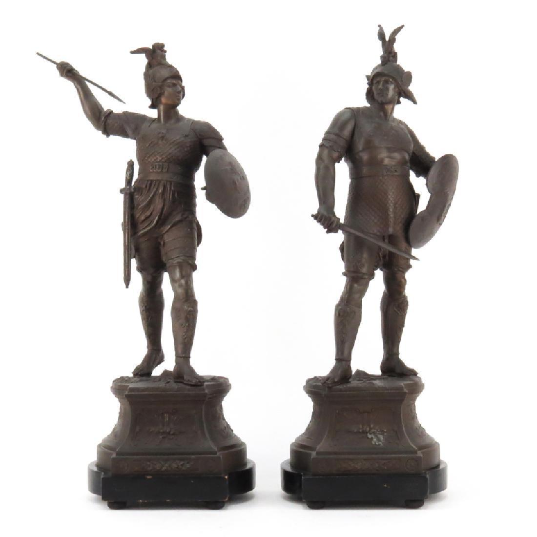 Pair of Antique White Metal Greek Gods of War