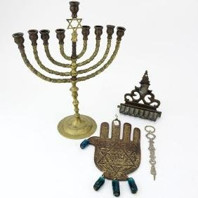 Four (4) Piece Lot of Antique Judaica. Includes brass
