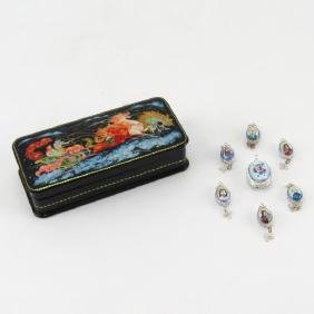Russian Lacquer Box together with Seven (7) Russian