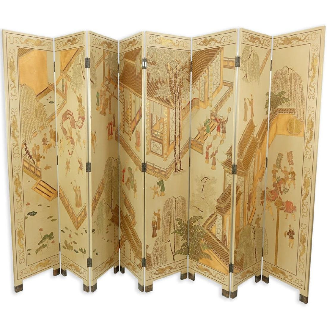 Maitland-Smith Asian Hand Painted Wood 8 Panel Screen.