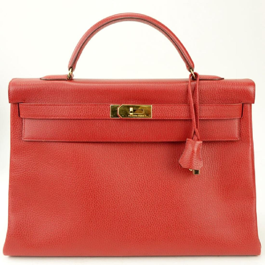 Hermès Red Calfskin Leather Kelly 40 Bag. With