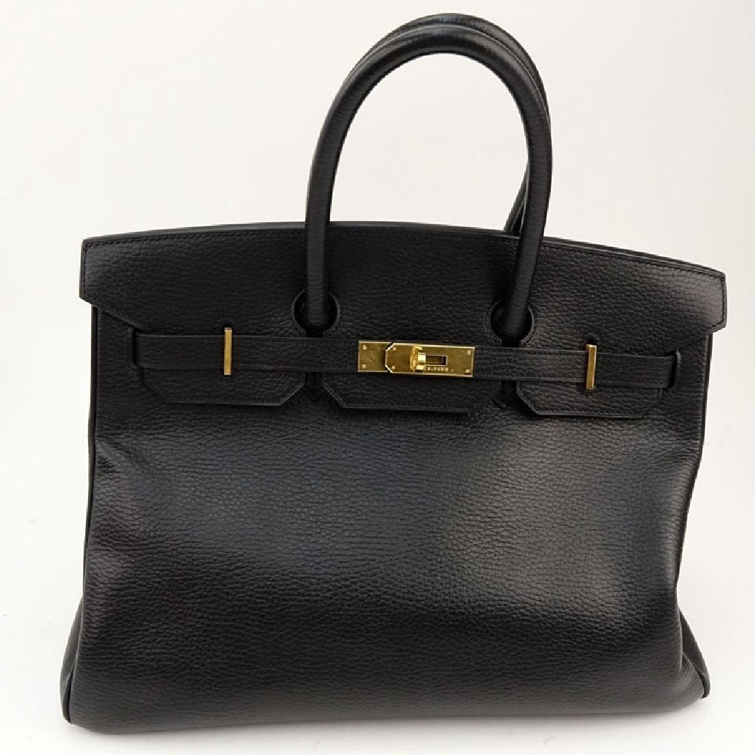 Hermès Black Noir Togo Leather Birkin GHW Bag 35 With