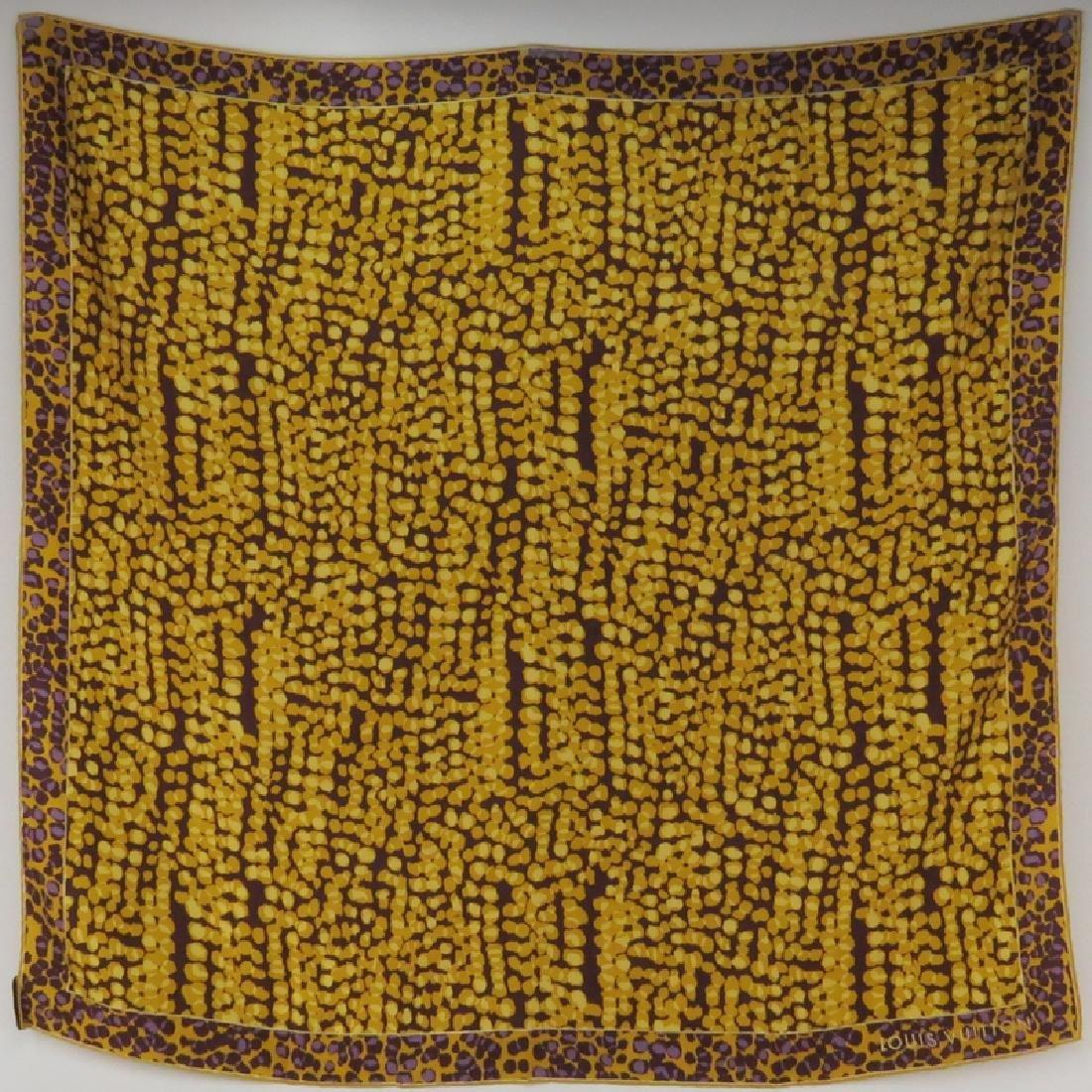 Louis Vuitton Silk Scarf, Gold, Yellow, Purple Print.