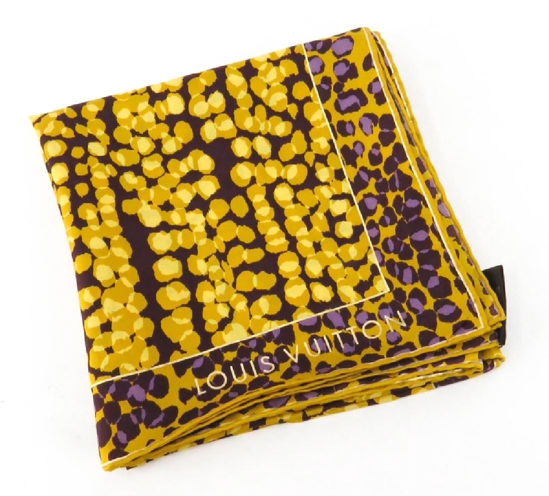 Louis Vuitton Silk Scarf, Gold, Yellow, Purple Print. - 4