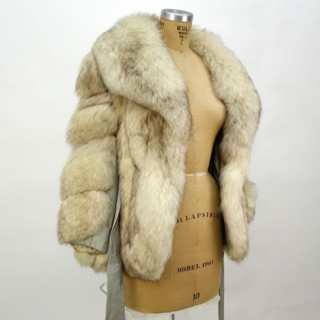 Lady's Vintage Fox Jacket with Leather Trim. Unsigned.