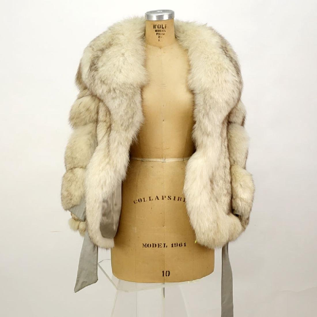 Lady's Vintage Fox Jacket with Leather Trim. Unsigned. - 2
