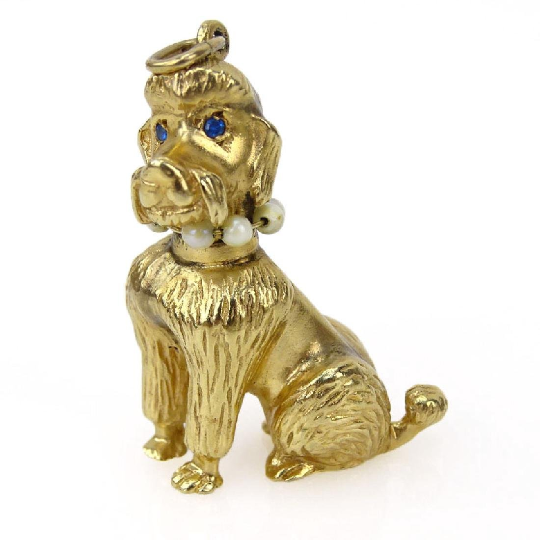 Vintage 14 Karat Yellow Gold Poodle Charm with Sapphire