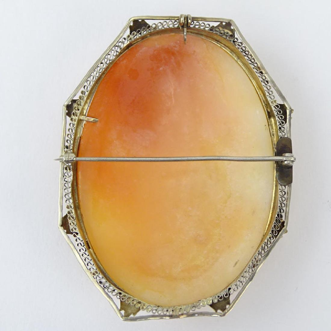 Antique Victorian Carved Shell Cameo and Filigree 14 - 2
