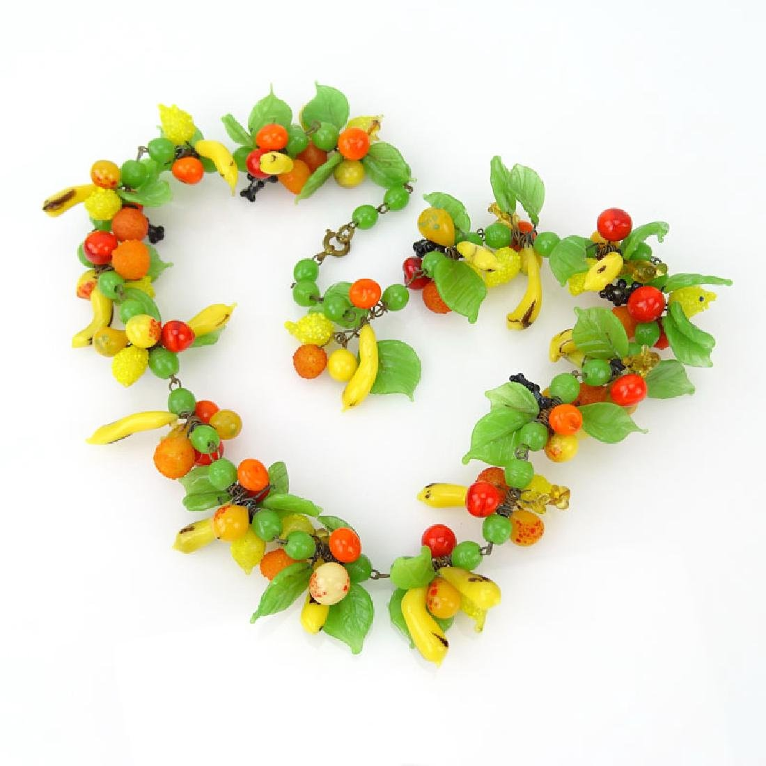Vintage Hand-blown Glass Fruit Salad Necklace.
