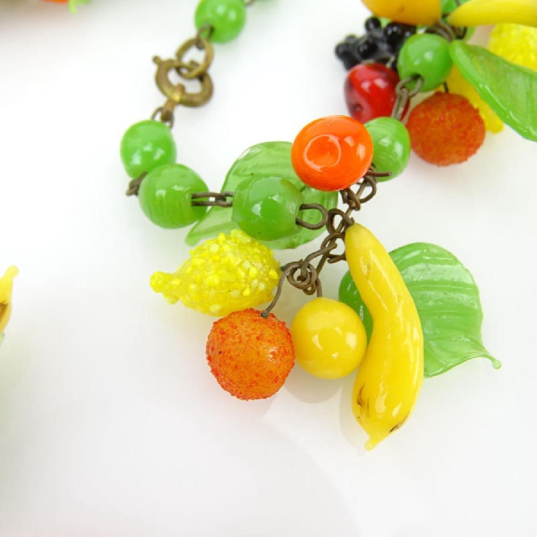 Vintage Hand-blown Glass Fruit Salad Necklace. - 3