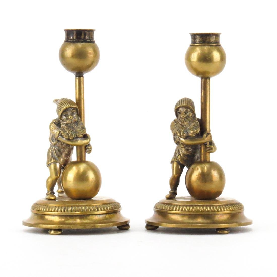 Pair of Early 20th Century Gnome Figural Bronze