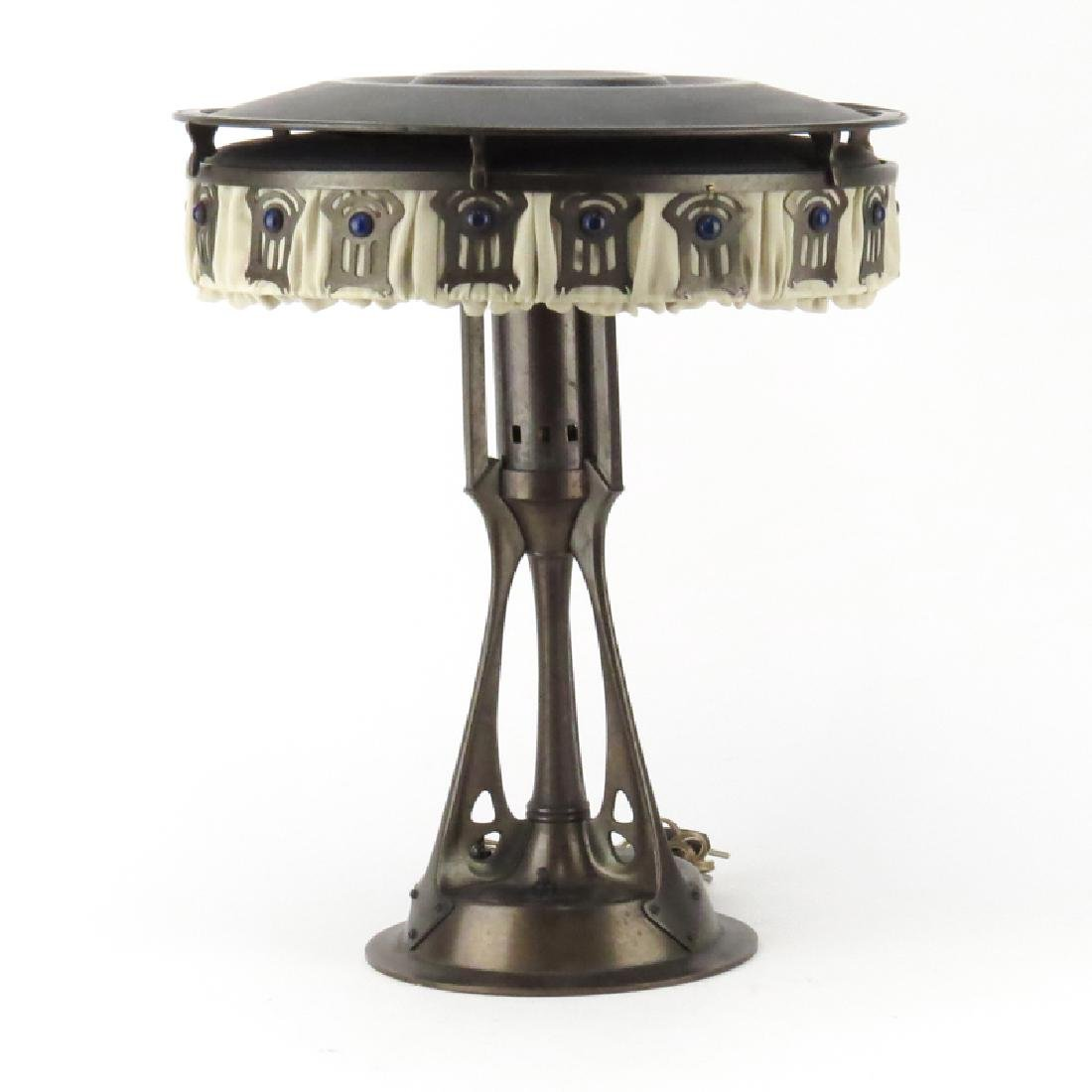 Antique Bronze Arts and Craft Desk Lamp. Decorated with